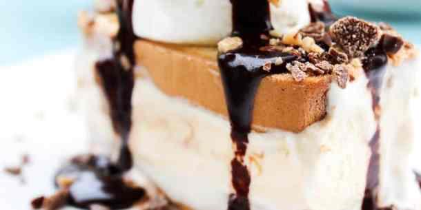Hot Fudge Caramel Ice Cream Cake -- Part of The Best Hot Fudge Dessert Recipes