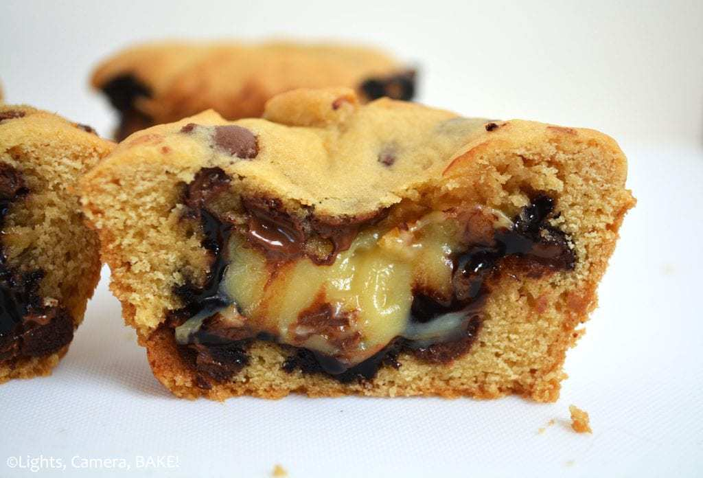 These caramel hot fudge cookie cups are a chocolate chip cookie baked in a muffin tin and filled with a homemade hot fudge sauce and homemade caramel