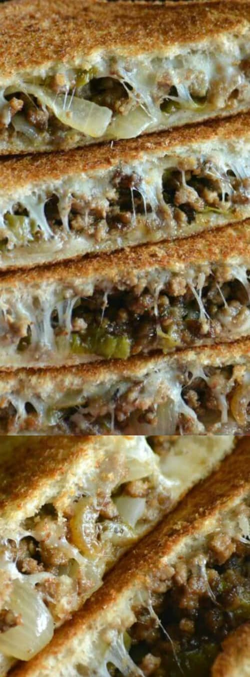 Ground Beef Philly Cheesesteak Grilled Cheese Sandwiches