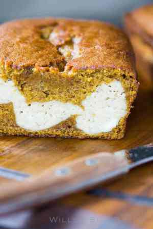 Pumpkin Stuffed Bread with Chai Cheesecake
