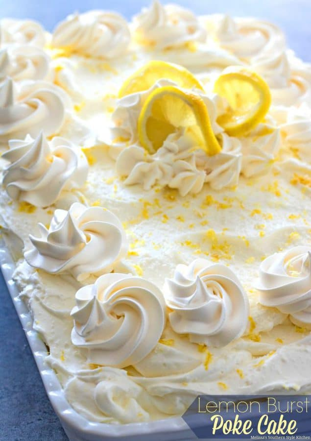This oh-so-simple and delightfulLemon Burst Poke Cakeis slathered with lemon pudding then topped with a dreamy homemade whipped lemon cream cheese frosting. There's only one way to describe the burst of lemon flavor you'll enjoy with each and every bite. It's light and refreshing and one of those special desserts that really shows the dessert love to your family and friends.