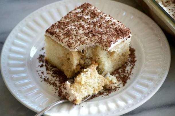Easy Tiramisu Poke Cake -- Part of Super Moist Poke Cake Recipes