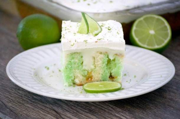 Key Lime Creme Poke Cake -- Part of Super Moist Poke Cake Recipes