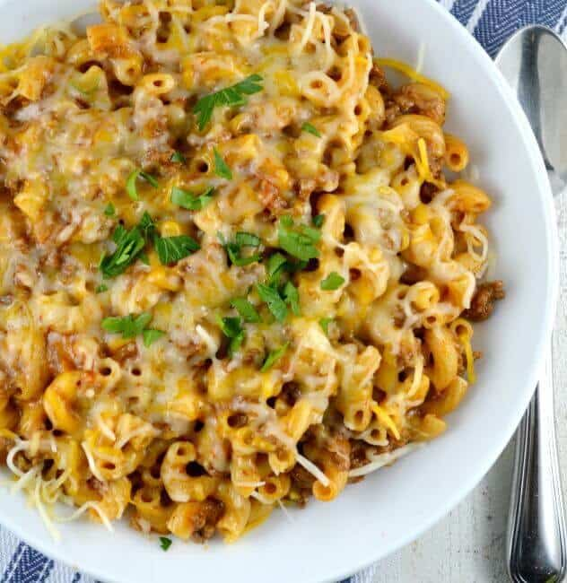 One Skillet Cheesy Chili Mac