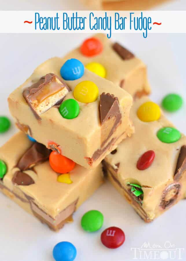 An excellent recipe for using up leftover candy and the perfect way to satisfy your sweet tooth – you simply must try this Peanut Butter Candy Bar Fudge!