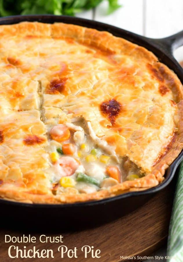 Chicken and vegetables cooked between buttery pie pastry couldn't be anything other than a downhome skillet meal that screams comfort.