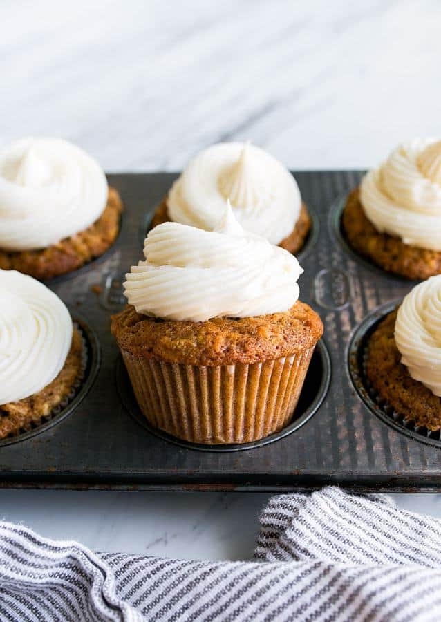 This recipe for carrot cake cupcakes makes just 6 cupcakes, which I love because carrot cake is something I have a hard time resisting. I think it's because I justify each bite since carrots are a vegetable? There are 2 carrots in this small batch of carrot cake cupcakes, so technically, you're eating ⅓ of a carrot with each cupcake.