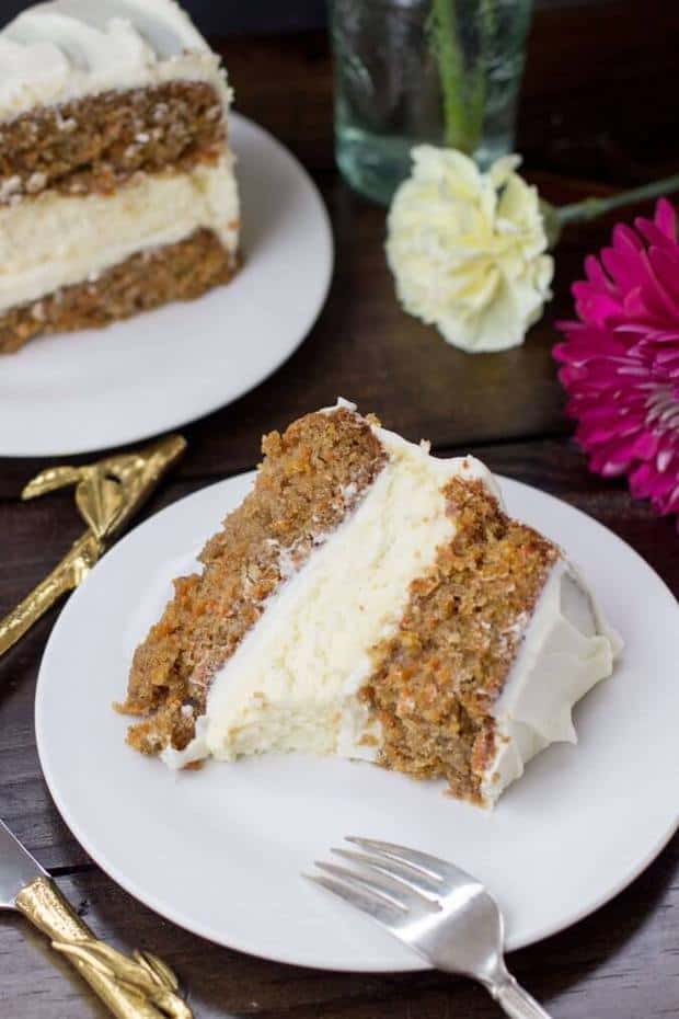Perfectly-spiced, incredibly moist carrot cake sandwiched around a rich layer of vanilla cheesecake and then frosted with a whipped cream cheese icing. This cake is pure decadence, but surprisingly refreshing, and is the perfect way to kick-start springtime.