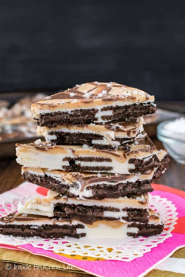 Swirls of chocolate, white chocolate, caramel and cookies will make this Salted Caramel Oreo Bark disappear in a hurry!