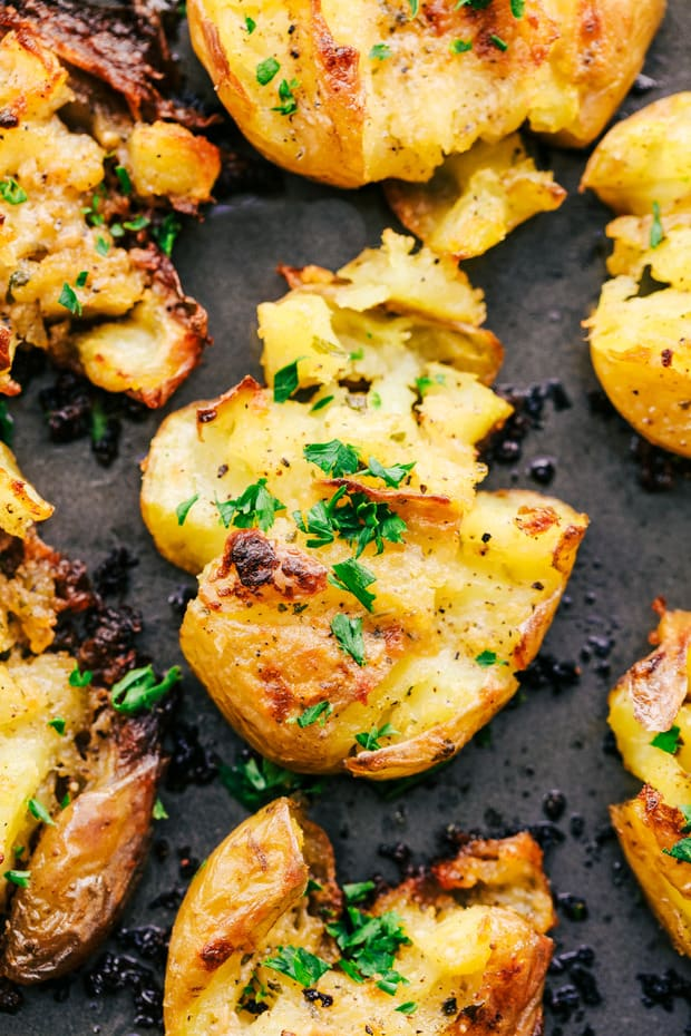Garlic Ranch Smashed Potatoesare crispy on the outside and tender on the inside with the most incredible garlic ranch flavor! These make the perfect side dish or appetizer.