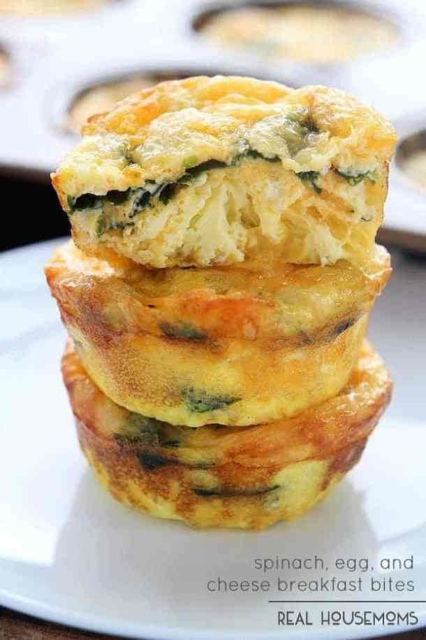 Spinach Egg and Cheese Breakfast Bites -- part of Cheesy Breakfast Recipes PERFECT for Saturday Mornings