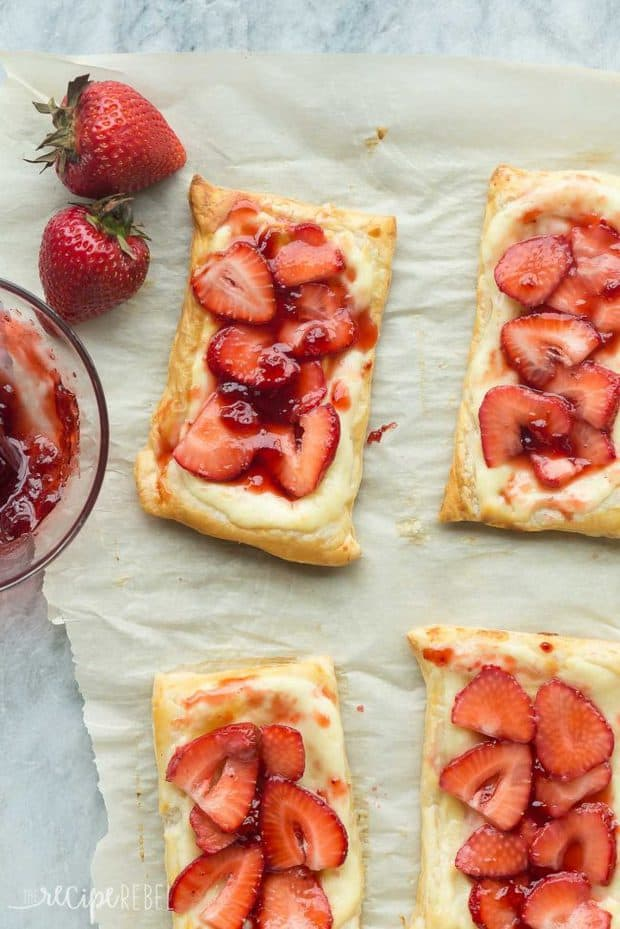 These Strawberry Cream Cheese Danishes are an easy breakfast or dessert that's perfect for summer!