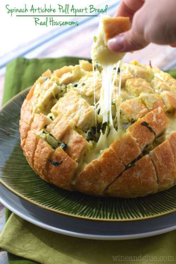 Spinach Artichoke Pull Apart Bread--Part of The Best Pull Apart Bread Recipes
