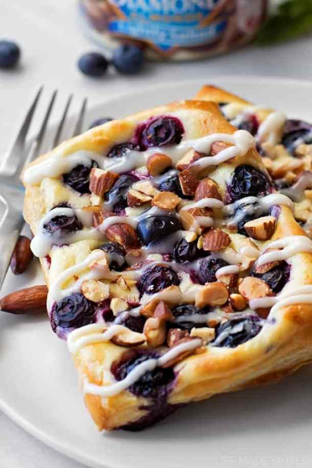 Blueberry Almond Cream Cheese Danish--- Part of 30 Breakfast Danishes to Start Mornings off Right