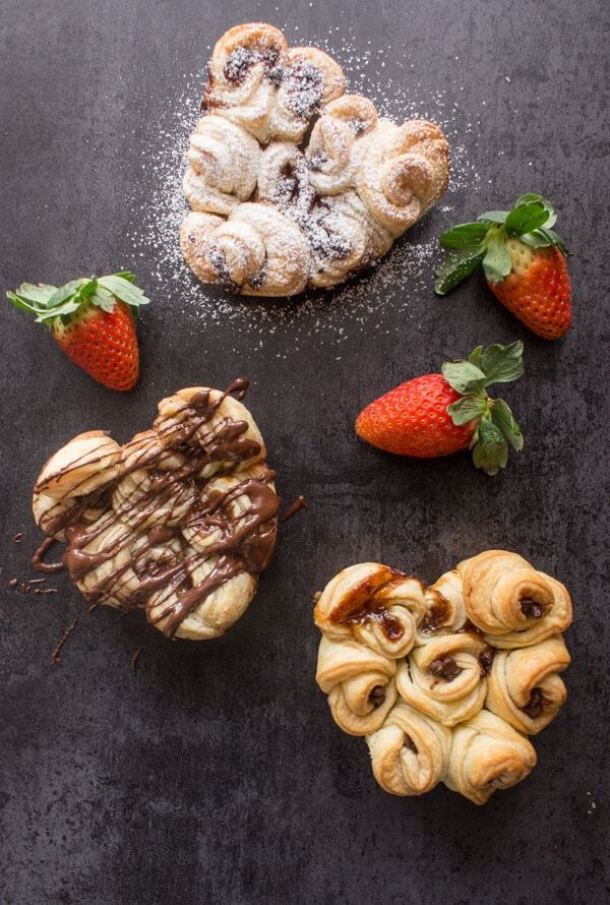 Easy Filled Puff Pastry Rose Hearts--Part of The Best Pull Apart Bread Recipes
