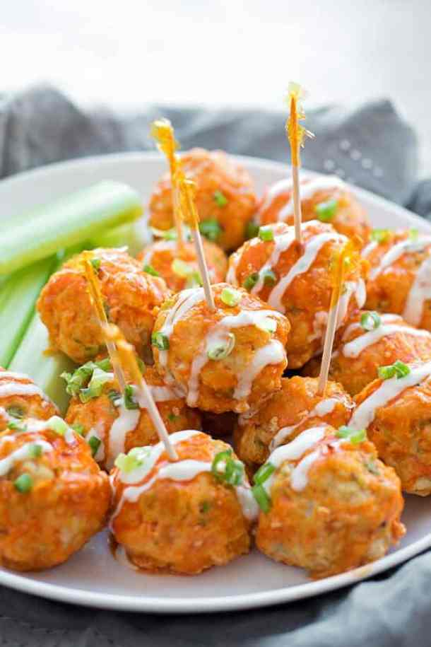 30 Minute Buffalo Chicken Meatballs--Part of 25+ Favorite Buffalo Flavored Recipes
