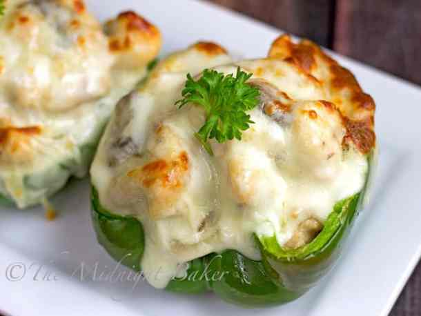 Asiago Chicken Mushroom Stuffed Peppers