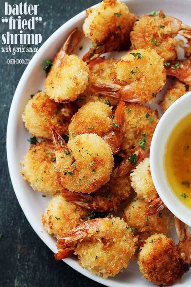 "Baked Batter ""Fried"" Shrimp with Garlic Dipping Sauce -- part of The Most Delicious Appetizer Recipes"