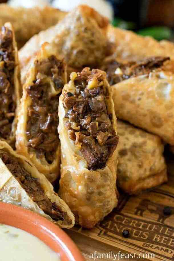 Cheesesteak Egg Rolls -- part of The Most Delicious Appetizer Recipes