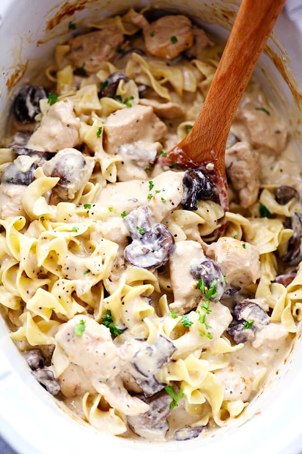 Slow Cooker Chicken and Mushroom Stroganofftakes just minutes to throw in the slow cooker! It is so creamy and delicious and will become an instant family favorite!