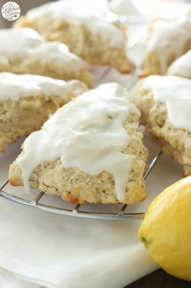 These bright, springy White Chocolate Lemon Poppyseed Scones are filled with tart lemon and sweet white chocolate!