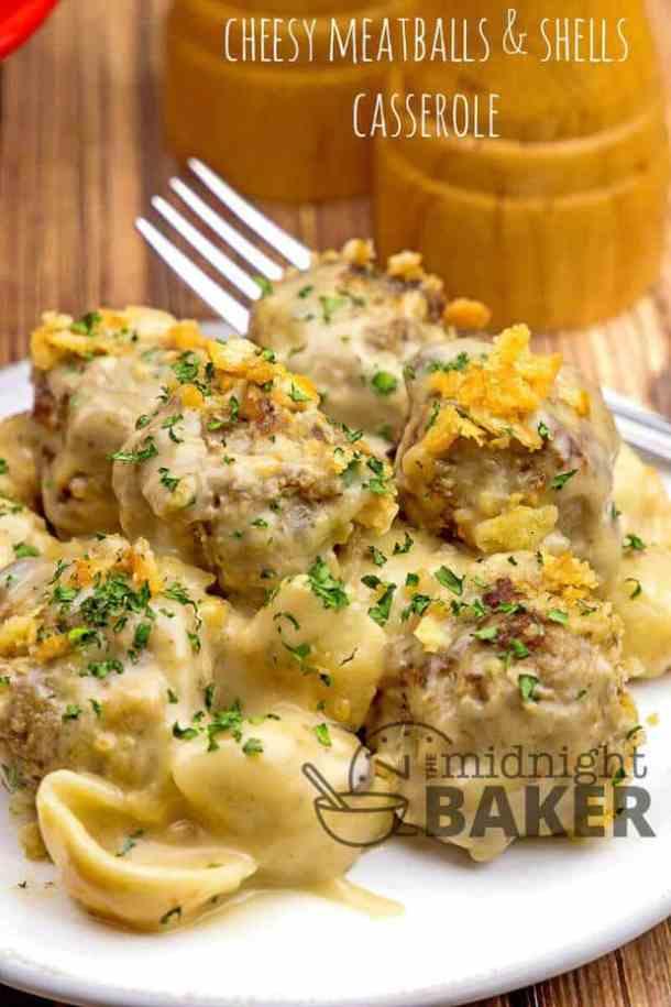 Cheesy Meatballs and Shells Casserole