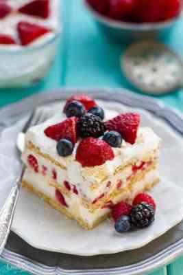 No-Bake Mixed Berry IceBox Cake