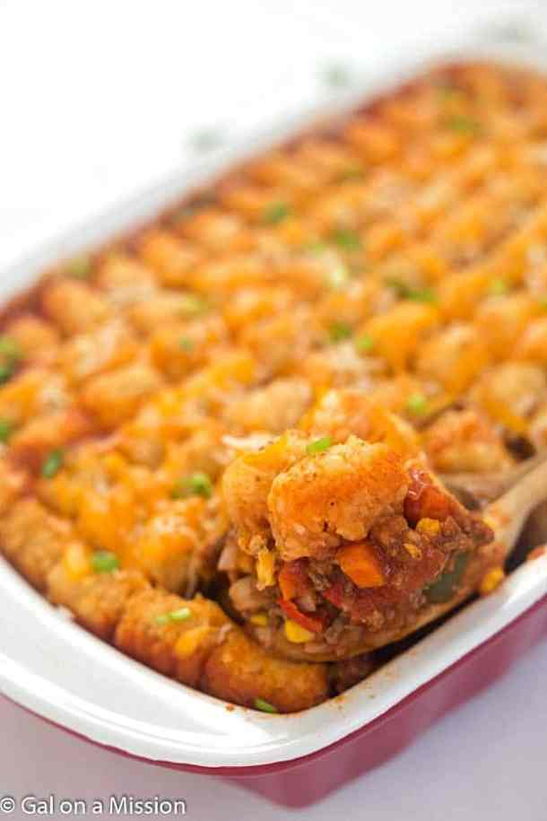 Tater Tot Sloppy Joe Casserole -- part of Budget Friendly Lazy Day Sloppy Joe's