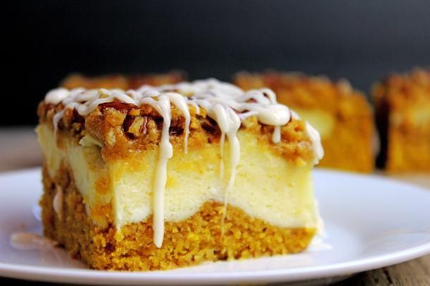 Cheesecake Filled Pumpkin Bread Bars--Part of The Best Dessert Bars