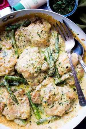 Creamy Garlic Basil Chicken Asparagus