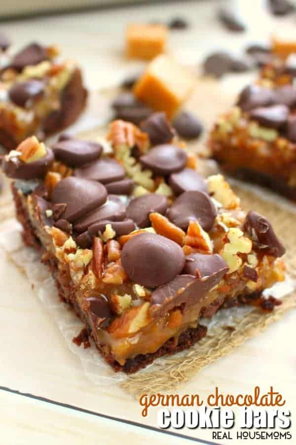 If you love caramel, pecans, coconut, and chocolate then these German Chocolate Cookie Bars are right up your alley! Made with a simple cake mix crust, and topped with all the goodies, these easy cookie bars are perfect anytime you're in the mood for a decadent sweet treat!