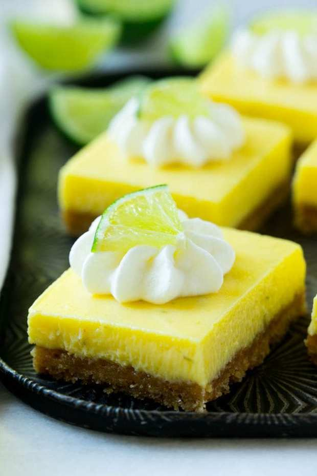 These key lime pie bars have a buttery graham cracker crust and a smooth and creamy lime filling that make for an irresistible treat!