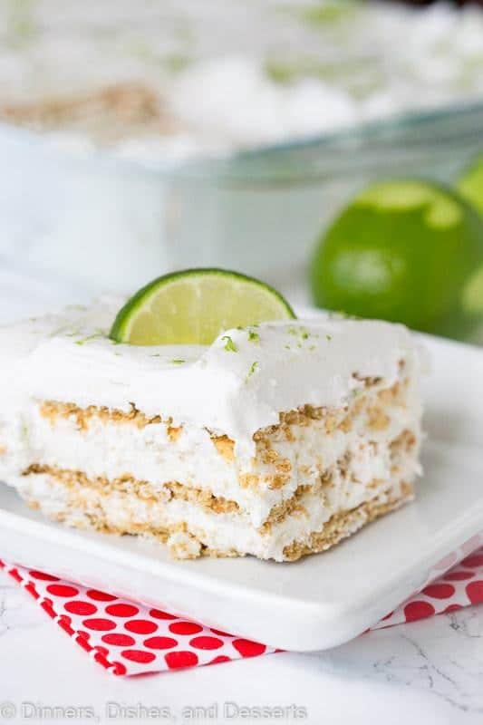 Key Lime Pie Ice Box Cake – Everything you love about a sweet, tart, creamy key lime pie in a no bake ice box cake!