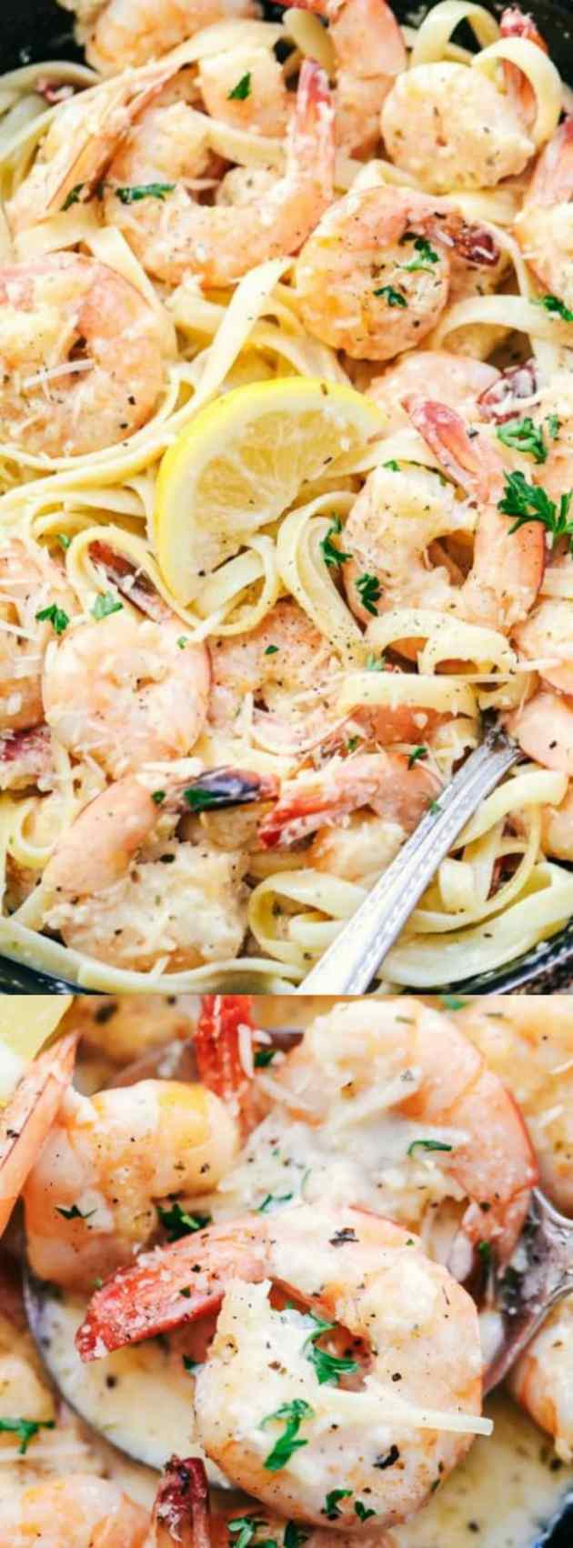 Creamy Parmesan Garlic Shrimp Pasta Longpin