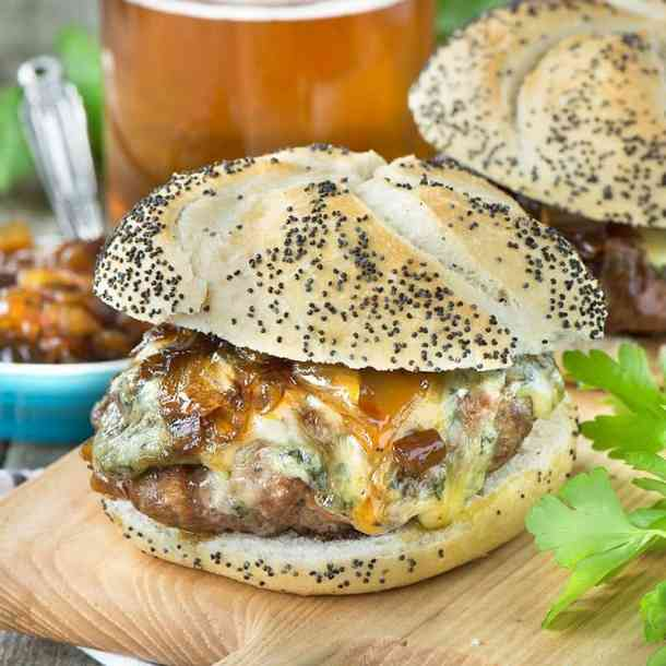 Beer Burgers with Beer Onion Jam