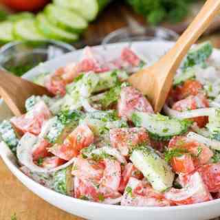 Creamy Cucumber Tomato Salad