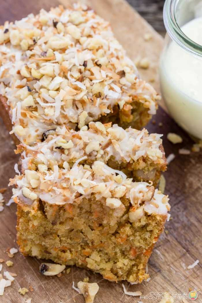 Easy Carrot Coconut Glazed Bread Recipe