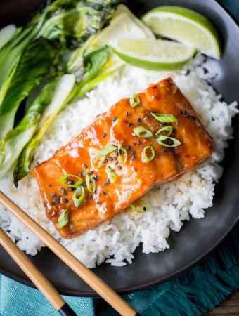 Teriyaki Salmon Rice Bowls With Bok Choy