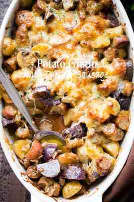 Cheesy Potato Gratin With Turkey Sausage And Mushrooms