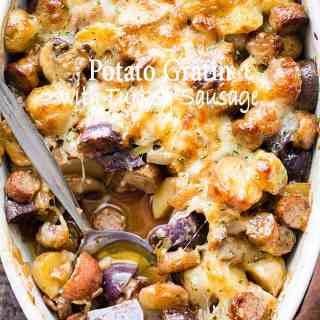 Cheesy Potato Gratin With Turkey Sausage And Mushrooms