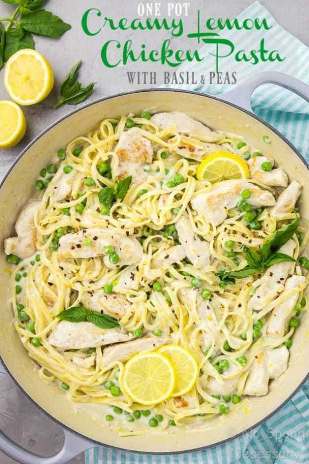 One Pot Creamy Lemon Chicken Pasta with Basil Peas