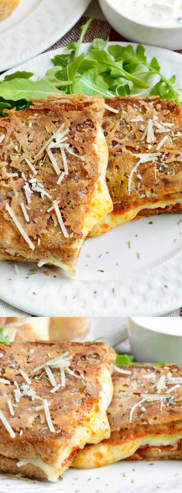 Parmesan Crusted Pepperoni Pizza Grilled Cheese longpin