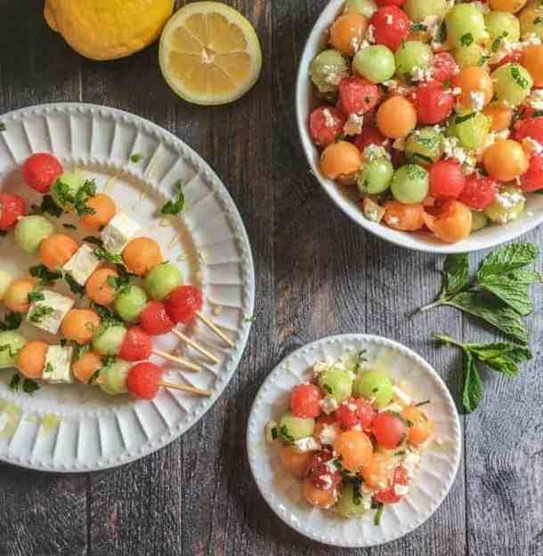 feta melon salad with lemon and mint recipe
