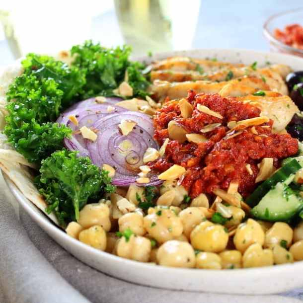 Chicken Kale Energy Bowl with Italian Sun-Dried Tomato Sauce Recipe