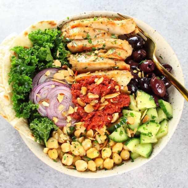 Chicken Kale Energy Bowl with Italian Sun-Dried Tomato Sauce