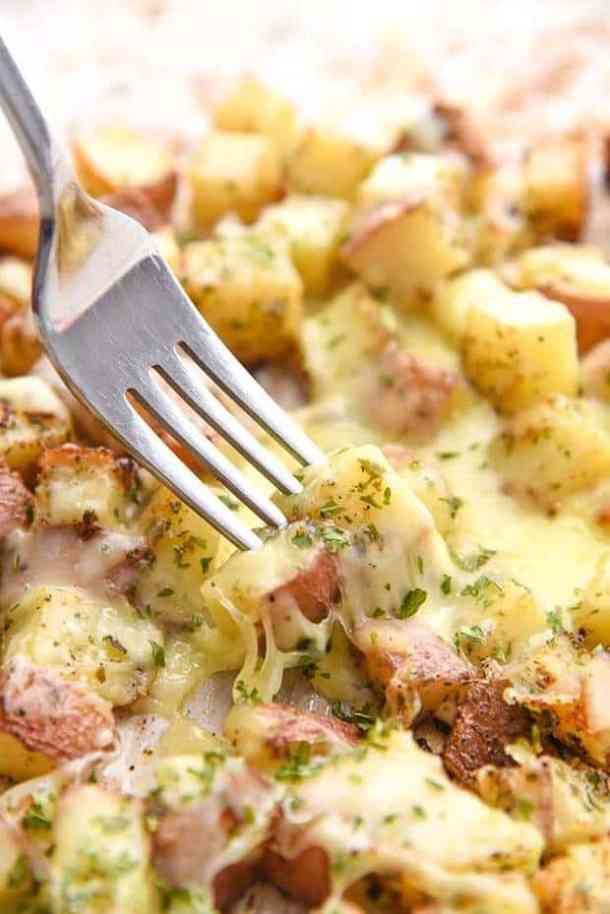 Oven Baked Cheesy Potatoes -- part of Loaded Potato Recipes that make the PERFECT Dinner Side Dish