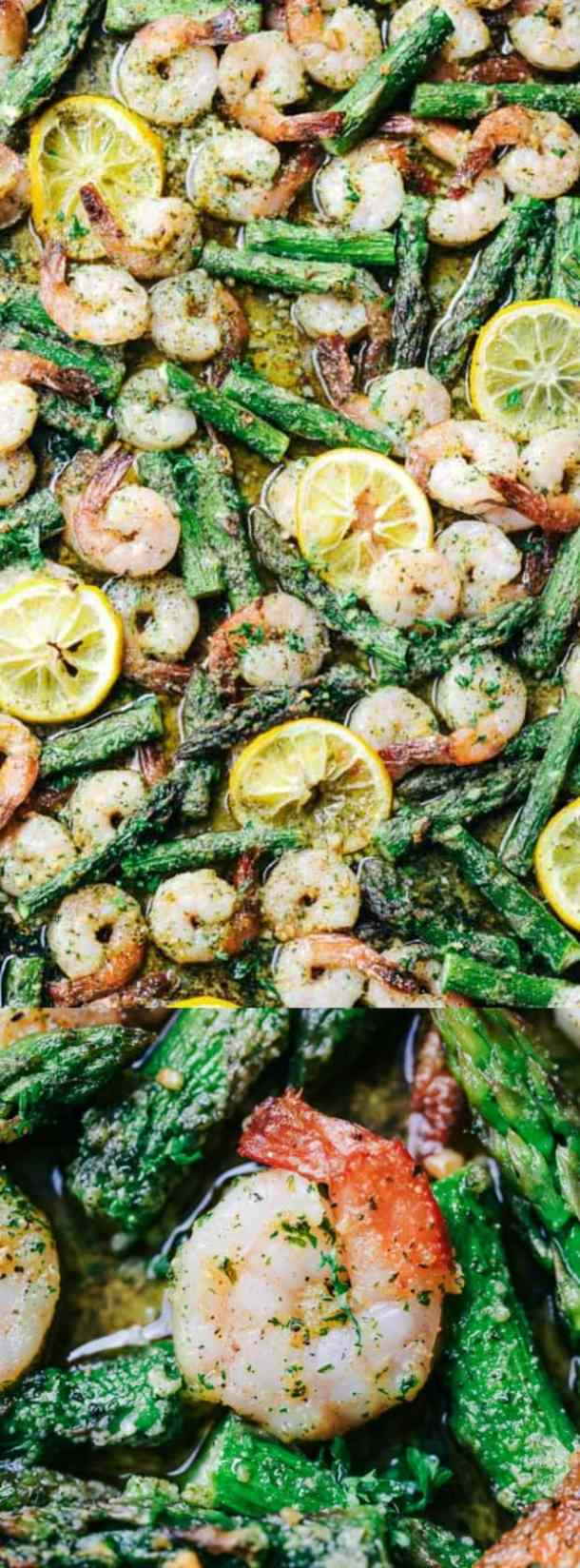Sheet Pan Lemon Garlic Butter Shrimp with Asparagus