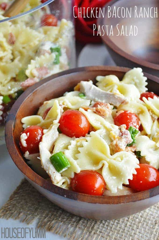 Chicken Bacon Ranch Pasta Salad--Part of The Best Chicken Bacon Ranch Recipes
