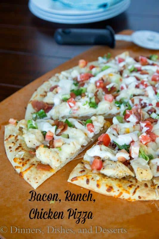 Bacon Ranch Chicken Pizza--Part of The Best Chicken Bacon Ranch Recipes