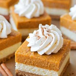 Layered Pumpkin Pie Cheesecake Bars